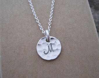 "Tiny 3/8"" Sterling Silver Initial Charm Necklace- includes charm, chain, gift box; simple, everyday necklace"