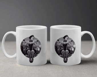 Black and White Woman in Circus Outfit Clown Gymnast Retro Freak Show Mug M502