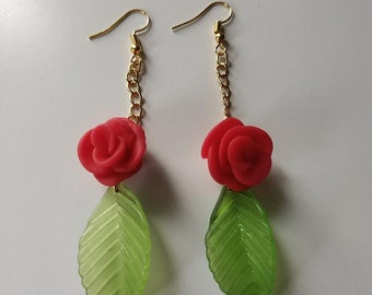 Fimo Rose and Leaf Earrings