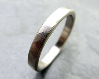 Hammered White Gold Wedding Band - 3mm Flat Band - Solid 14k White Gold Polished or Matte Finish, Hypoallergenic Palladium White Available