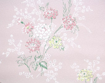 1950s Vintage Wallpaper by the Yard - Pink White Yellow Flowers on Pink