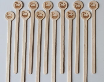 1000 Wooden Drink Stirrers - Coffee Stirrer - Beverage Bar Stick Wood Drink Stirs Customized LOGO Wholesale Personalized Party Cafe company