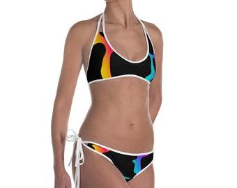 80's Style Giraffe Pattern Print Neon Rainbow Bikini