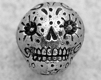 Green Girl Studios Pewter Sugar Skull Bead