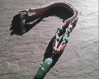 Jade crystal pendant necklace