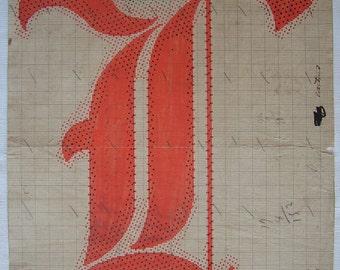 Letter L,  Original 19th Century Handpainted Textile Design Monogram - Initial