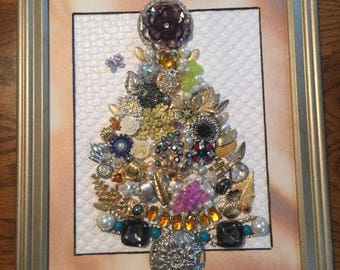 "Beautiful Vintage to Now Jewel Framed ""Christmas Tree"""