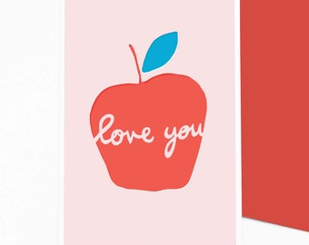 Apple Love You - valentine's card, greetings card, friendship card, apple art, love art