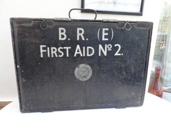 Large Vintage Original Circa 1953 British Rail (Eastern) FIRST AID No. 2  ST. Johns Ambulance Box Black Metal Construction