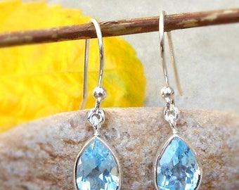 Blue Topaz earrings - Sterling silver earrings - topaz jewelry - blue topaz drop earrings Bridesmaid Gift ideas December Birthstone Earrings