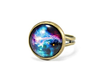 Galaxy Ring, Geek Ring, Geeky Birthday Gift For Her, Bronze Ring, Astronomy Ring, Astronomy Gifts, Geeky Gifts, Adjustable Ring, Scientist