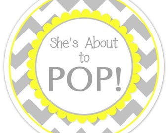 36 Baby Shower About to Pop labels, Gray and Yellow Chevron, About to Pop Stickers, Baby Shower Labels