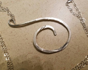 """3"""" x 2"""" hammered sterling silver pendant on a 25"""" sterling silver chain"""
