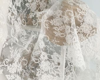 3 Yards Exquisite French Alencon Lace Fabric Trim for Wedding , Bridal Accessories , Garments , Veils