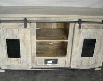 Sideboard Tv Barm Sliding Doors Reclaimed Wood