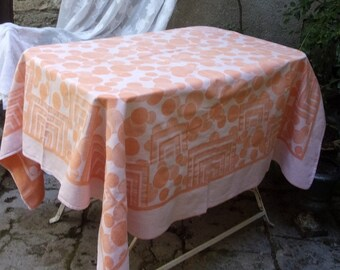 Damask tablecloth fabric, vintage, art deco