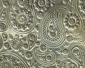 Brass Textured Metal Sheet Paisley Pattern 20g - 6 x 2 1/4 inches - Bracelets Pendants Metalwork