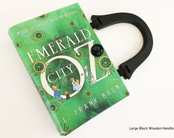 The Wizard of Oz Recycled Book Purse - Emerald City of Oz Book Cover Clutch - Wicked Witch Book Cover Handbag - Wizard of Oz Collector Gift