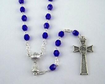 Cobalt Blue Holy Communion Rosary