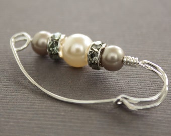 Sterling silver shawl pin, scarf pin with Swarovski white and mocha cream pearls with rhinestones spacers - SP078