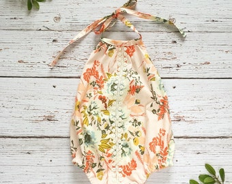 first birthday outfit girl //  boho romper //boho baby outfit //sunsuit // baby romper // floral romper// cake smash outfit // easter romper