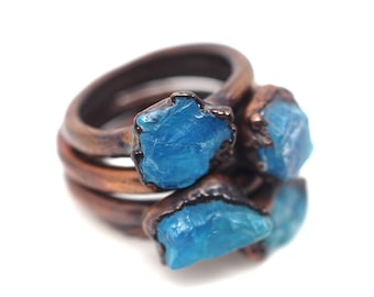 Apatite ring Crystal ring Natural stone ring Gemstone ring Mineral ring Copper ring Bohemian ring Boho ring Boho jewelry Unique gift