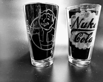 Etched Nuka Cola /Vault Boy Glasses