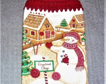GINGERBREAD VILLAGE Double Layer Hanging Crochet Towel, kitchen towel, crochet top towel, housewarming, birthday, gifts, holiday