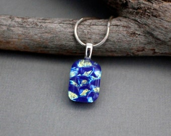 Blue Glass Necklace - Dainty Necklace - Blue Necklace For Women - Dichroic Glass Pendant - Blue Pendant Necklace - Gift For Women
