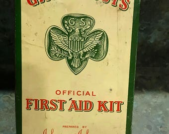 Vintage 1950 Era Girl Scouts Official First Air Kit Johnson & Johnson