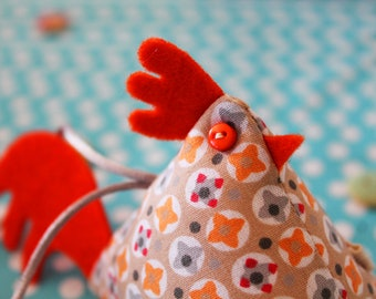 Fabric hanging chicken or bag charm