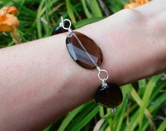 Large Smoky Quartz and Silver Bracelet