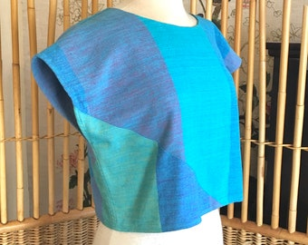 Vintage 80s Memphis Style Cotton Patchwork Cropped Top by Bird of Paradise