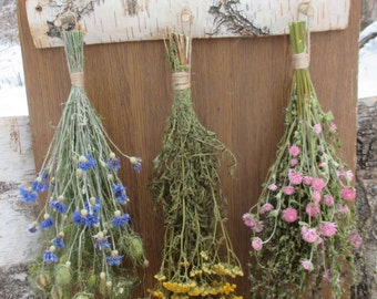 Dried Flower Rack, Country Rustic and Primitive Decor, White Birch Rack, Wall Decor, Dried Flower Decor, Hanging Decor, Natural Rustic Decor