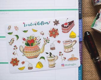Posh afternoon tea - decorative watercolour planner stickers suitable for any planner -381-
