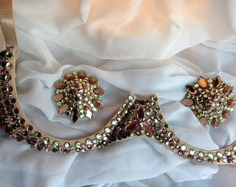 Rhinestoned burlesque underwire bra and pastie set, smoked topaz, handmade