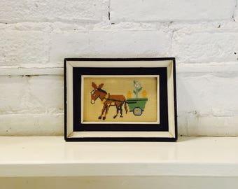 Vintage Framed Donkey and Cart Needlepoint