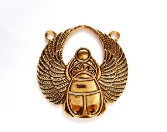 1 Antique Gold Egyptian Scarab Connector - 2-IN-7A