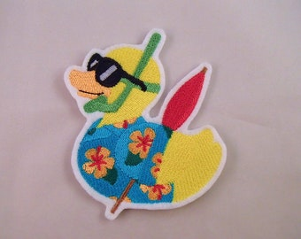 Rubber Ducky Embroidered Patch. Embroidered Applique. Sew On Patch. Glue On Patch.