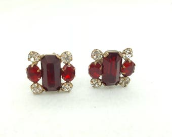 Ruby and Rhinestone Art Deco Screw back earrings Bright and Cheery Vintage
