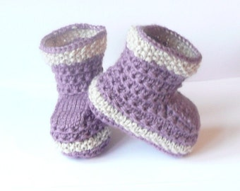 Knitting Pattern Baby Booties Simple Seamless Lilac Lounging Boots (0 - 12 mths)