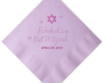 Bat Mitzvah Hearts Personalized Napkins - Set of 100 - Custom Printed Napkins, Foil Stamped Napkins, Party Favors, Birthday