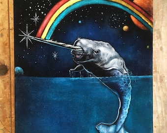 Happy Rainbow Narwhal Space Scene- Black Velvet Painting- original velvet by Gil Corral
