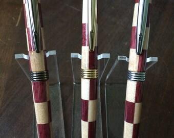 Maple & Purpleheart Checkered Streamline Pen