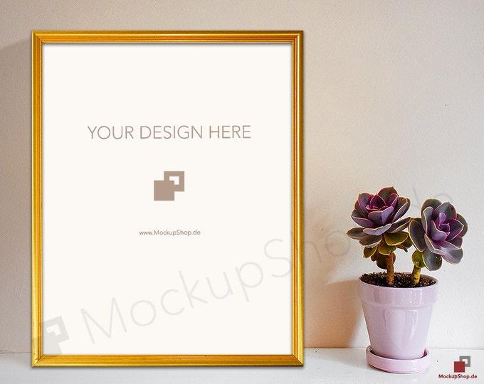 8x10 GOLD FRAME MOCKUP // Empty Frame Mockup // Gold Mockup with Flowers // Empty Gold Frame Mockup // Gold Mockup Photo / Gold Mockup Frame