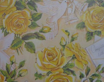 Vintage Gift Wrap 1970s Wedding Wrapping Paper- Yellow Roses 2 Sheets NIP