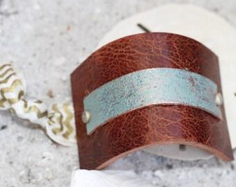Beach Hair Jewelry - Bun Holder - Bun Maker - Ponytail Cuff - Hair Accessories - Leather Hair Cuff - Turquoise Hair Jewelry - Beach Hair