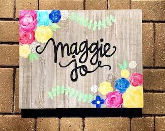 Custom 16x20 Floral Name Sign