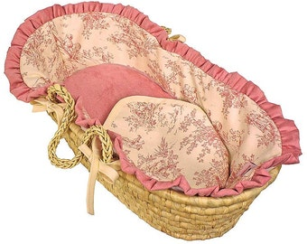 Doll Moses Basket - Toile Pink