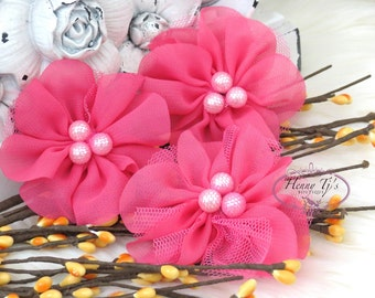 NEW: 4 pcs Lavinia HOT PINK Soft Chiffon and Tulle w/ pearls Ruffled Fabric Flowers, Hair accessories. Headband Flowers. Scrapbooking.